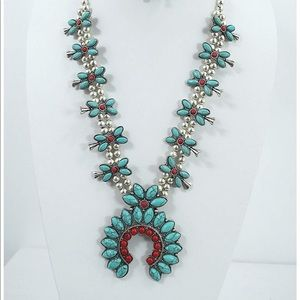Jewelry - Faux Turquoise Squash Blossom Statement set